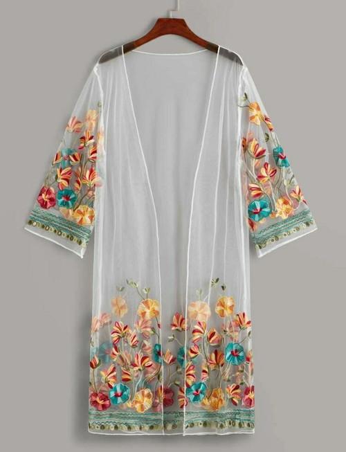 Embroidery Mesh Long Kimono