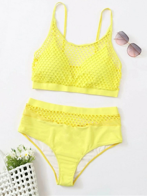 Plus Yellow Fishnet High Waisted Bikini