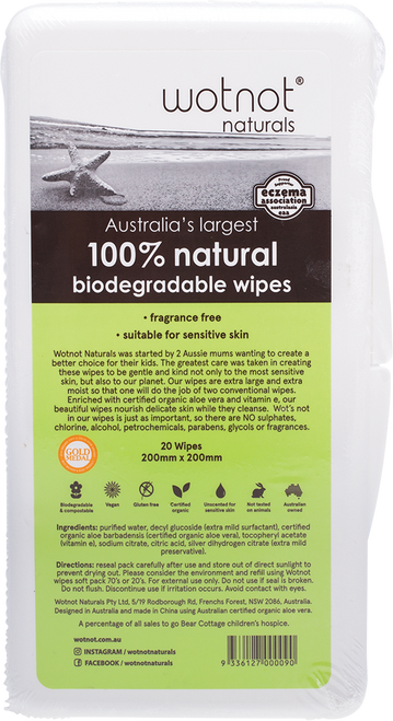 WOTNOT Travel Wipes With Travel Case 100% Biodegradable
