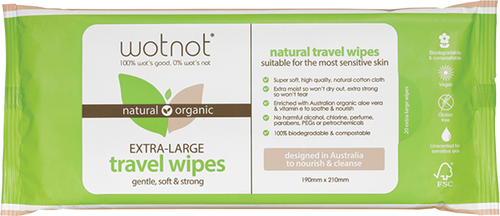 WOTNOT Travel Wipes Refill Pack 100% Biodegradable