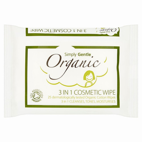SIMPLY GENTLE ORGANIC 3 In 1 Cosmetic Wipe Cleanses, Tones, Moisturises