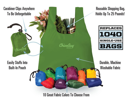 CHICO BAG Reusable Shopping Bag Original With Integrated Pouch
