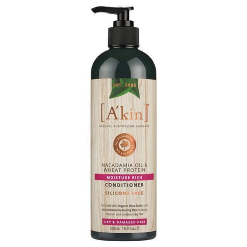 A'kin Moisture Rich Macadamia Oil & Wheat Protein Conditioner 500mL