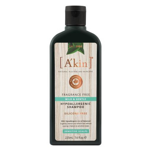 A'kin Mild & Gentle Fragrance Free Shampoo 225mL
