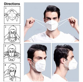 KN95 Respirator Face Mask With Ear Loops - CE Certified - FDA Registered - 10 Pack - As Low As 2.99 Each