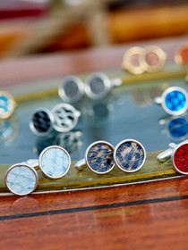 Silver-plated Cuff Links inlaid with exotic Icelandic Fish Leather designed and handcrafted in Cape Charles, VA.
