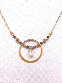 Adriatic Necklace- 24K Gold-plated, Swarovski Crystal, Golden Shadow