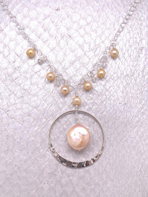 Lima Necklace- Peach Freshwater Coin Pearl, Sterling Silver, Handcrafted in the USA