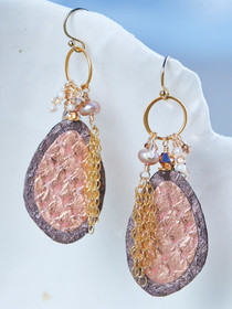 Rose Gold Salmon Leather Earrings, Handcrafted in Cape Charles, VA