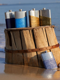 Stainless Steel Fish Leather Flask, Handcrafted in Cape Charles by Moonrise Jewelry