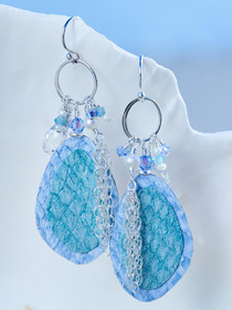 Light Blue Salmon Leather Earrings, Handcrafted in Cape Charles, VA