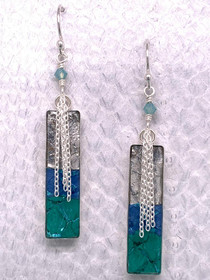 Handcrafted Fish Leather Earrings, Sterling Silver