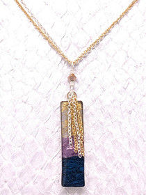 Handcrafted Salmon Leather Necklace, made in the USA by Moonrise Jewelry