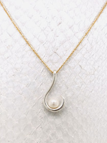 Fisherman's Island Necklace- Fish Hook & Pearl pendant, handcrafted in Cape Charles, VA