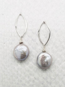 "Barcelona Earrings–3/4"" Freshwater Coin Pearl suspended from Sterling Silver Open Marquise Shaped Post."