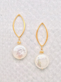 """Barcelona Earrings–3/4"""" Freshwater Coin Pearl suspended from a 24K Gold Vermeil-Style Open Marquise Post."""