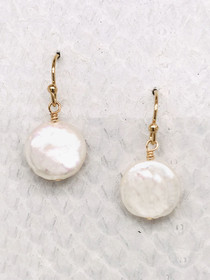 "Ranier Earrings– 1/2"" White Freshwater Coin Pearl suspended from 14K Gold-filled ear wires handcrafted in Cape Charles, VA."