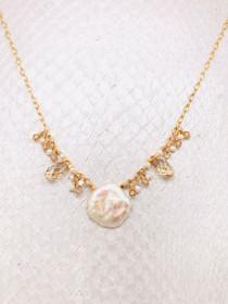 Martinique Necklace– 14K Gold-filled chain with Keshi Pearl pendant set among mesmerizing Golden Shadow Swarovski crystals and freshwater Pearls.