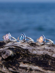Samoa Rings– Small Sterling Silver Teardrop Setting with Genuine Icelandic Metallic Fish Leather.