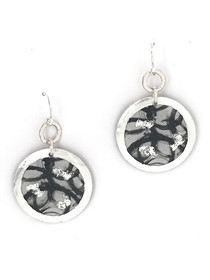 """Untethered"" Dangle Disc Sterling Silver Earrings inspired from an original painting by local artist Abbi Custis. Handmade in the USA."