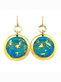 "1"" Gold Dangle Disc Earrings inspired by ""Stargazing"" an original painting by local Eastern Shore artist Abbi Custis. Handmade in USA."