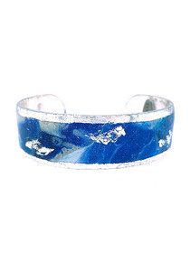 """Cast Yourself on Every Wave"" .75 Inch Cuff Bracelet that is inspired from an original painting by local artist Abbi Custis. Handmade in the USA."
