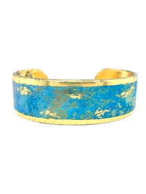 """Stargazing"" .75 Inch Gold Cuff Bracelet that is inspired from an original painting by local artist Abbi Custis. Handmade in the USA."