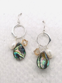 Chesapeake Earrings– Sterling Silver Ear wires and Links adorned with Abalone Shell, Swarovski Crystal and Freshwater Pearls handcrafted in Cape Charles, VA.