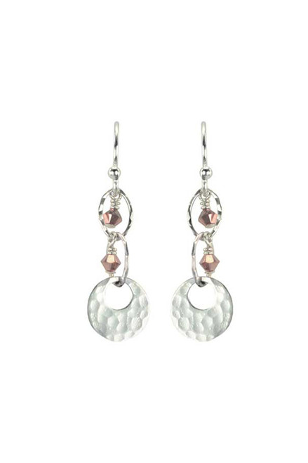Silver Chantilly Earrings with rose gold Swarovski Crystal, handcrafted by Moonrise Jewelry