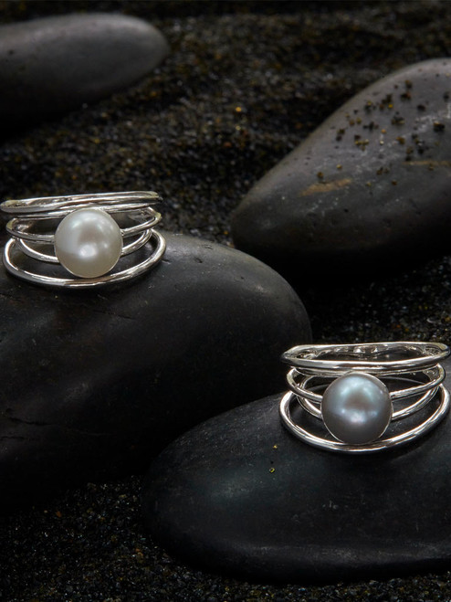 Gullfoss Rings, Freshwater Pearl & Sterling Silver