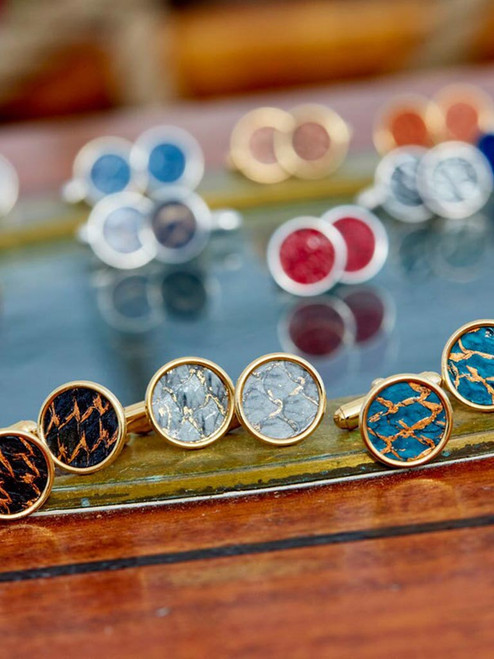 Gold-plated Cuff Links inlaid with exotic Icelandic Fish Leather designed and handcrafted in Cape Charles, VA.