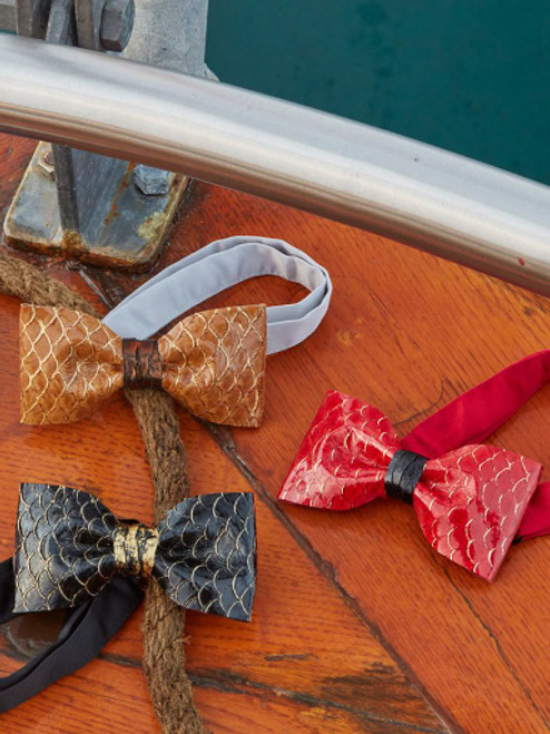 Fish Leather Bow Ties designed and handcrafted in our Moonrise Jewelry studio in Cape Charles, VA. (Custom Colors Available)
