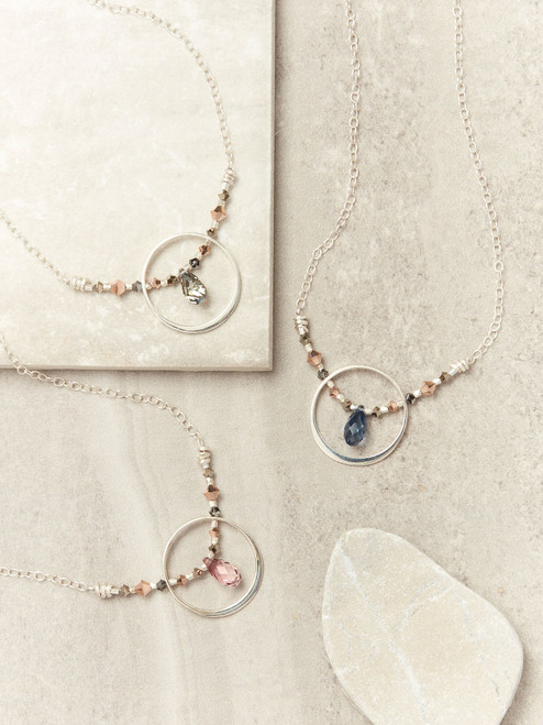 Silver Adriatic Necklace with Swarovski Crystal, Handcrafted by Moonrise Jewelry