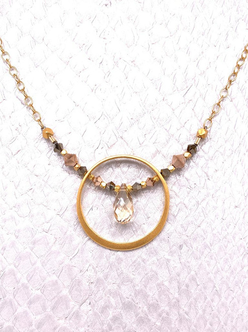 Adriatic Necklace- 24K Gold-plated, Swarovski Crystal, Golden Shadow