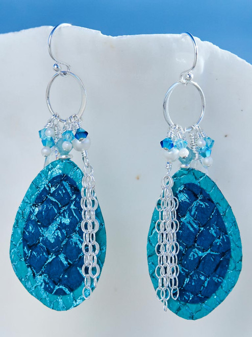 Turquoise Salmon Leather Earrings, Handcrafted in Cape Charles, VA