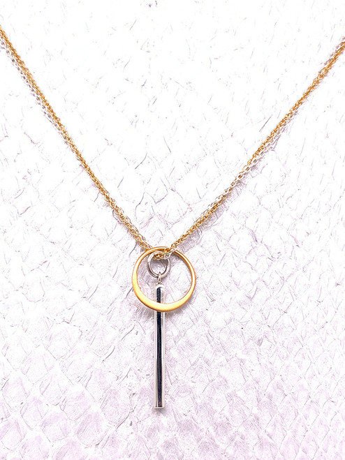 Kenya Necklace, Sterling Silver & 24K Gold-plate, Handmade by Moonrise Jewelry