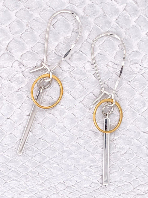 Kenya Earrings, Handcrafted by Moonrise Jewelry- Sterling Silver & 24K Gold-plated Links