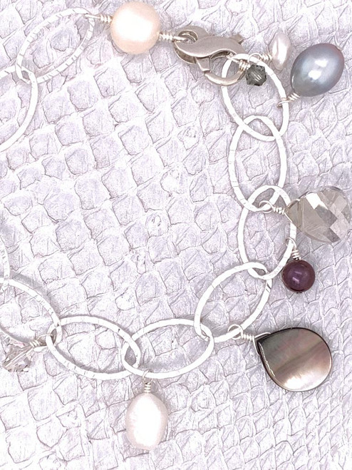 Soho Bracelet - Sterling Silver, Grey Lip Shell, Freshwater Pearls and Swarovski Crystals handcrafted in Cape Charles, VA.