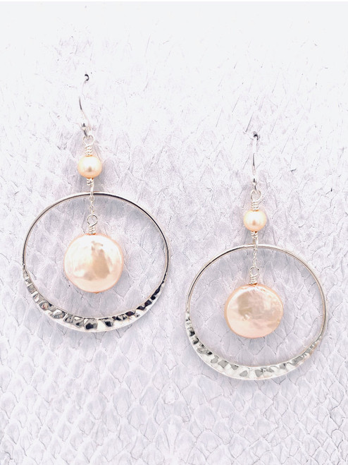 Lima Earrings - Peach Coin Pearl suspended inside Sterling Silver Hammered Hoops suspended below a peach freshwater pearl. Handcrafted in Cape Charles, VA.