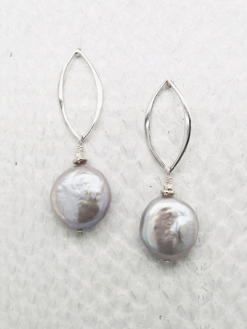 """Barcelona Earrings–3/4"""" Freshwater Coin Pearl suspended from Sterling Silver Open Marquise Shaped Post."""