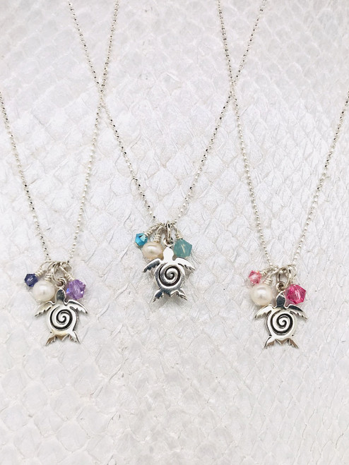 Nantucket Necklace - Sea Turtle Charm embellished with Freshwater Pearls and Swarovski Crystals on adjustable Sterling Silver ball chain handcrafted in Cape Charles, VA.