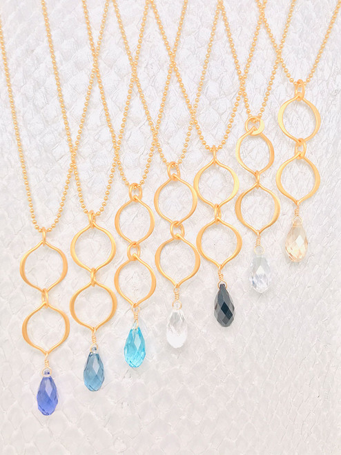 Victoria Necklaces– 24K Gold Vermeil-Style Petal Shaped Links with a Swarovski Crystal suspended from a 14K gold-filled chain handcrafted in Cape Charles, VA.