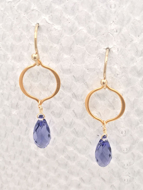 Seville Earrings– Tanzanite Swarovski Crystals adorned on 24K Gold-plated Vermeil Style organic shaped petal links and 14K Gold-filled Ear wires.