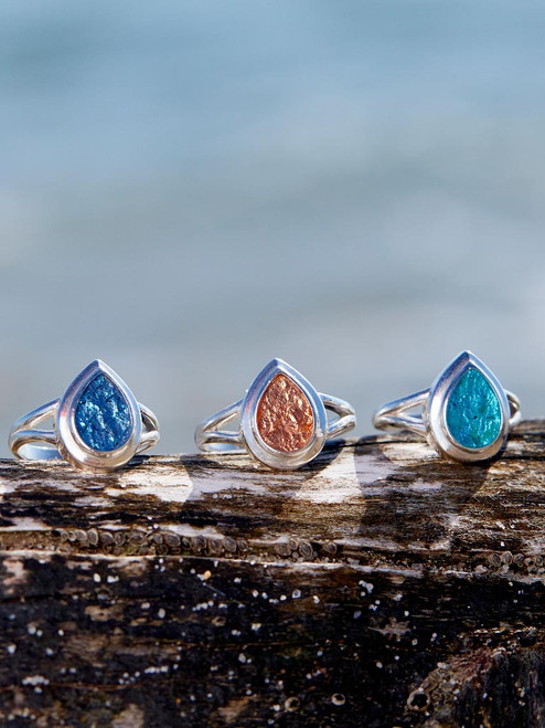 Sterling Silver Large Teardrop Ring inset with Genuine Icelandic Metallic Fish Leather handcrafted in Cape Charles, VA.