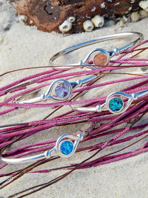 Samoa Bracelet– Sterling Silver bangle Bracelet inset with Genuine Metallic Icelandic Fish Leather handcrafted in Cape Charles, Va.