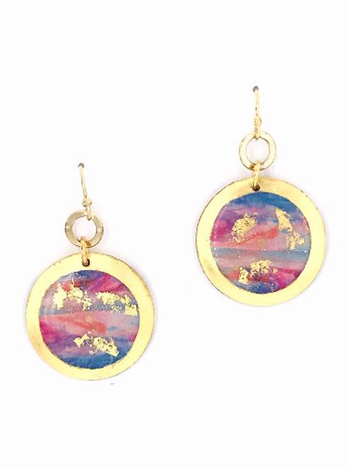 "Morning Run – Gold 1"" Dangle Disc Earrings"
