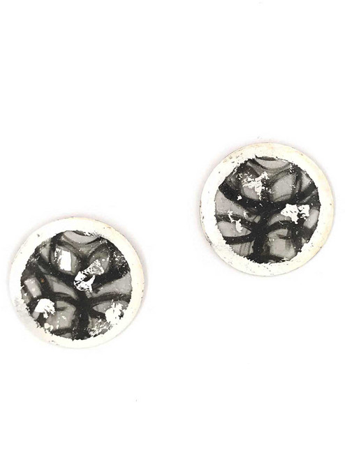 """""""Untethered"""" Sterling Silver Disc Earrings inspired from an original painting by local artist Abbi Custis. Handmade in the USA."""