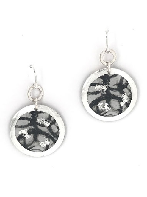 """""""Untethered"""" Dangle Disc Sterling Silver Earrings inspired from an original painting by local artist Abbi Custis. Handmade in the USA."""