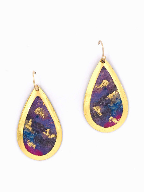 """1.5"""" Gold Teardrop Earrings featuring """"Enchanted Wonder"""" original painting by Abbi Custis. Handcrafted in the USA."""