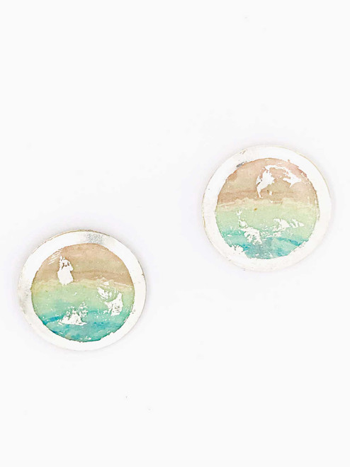 """""""Salt Air"""" Sterling Silver Disc Earrings inspired from an original painting by local artist Abbi Custis. Handmade in the USA."""